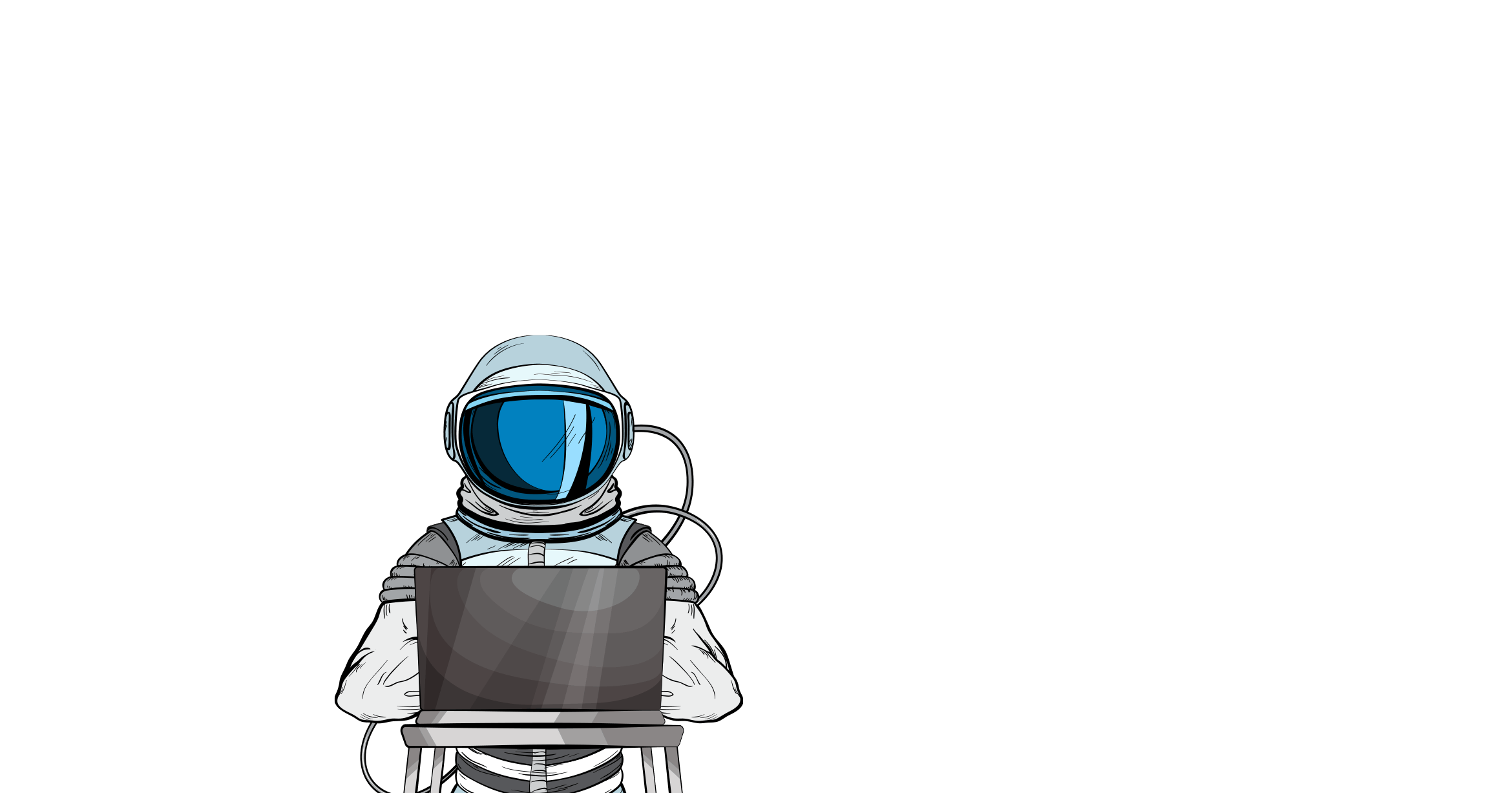 Astronaut checking online digital marketing campaign on laptop