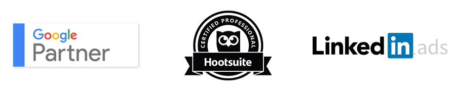 Google Partner, Hootsuite Certified professional and LinkedIn Ads Logos